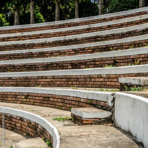 Spoed Foto op Canvas Stadion Old curve concrete grandstand