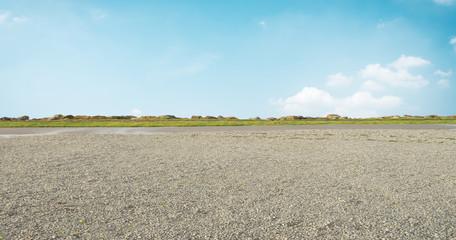 empty ground and blue sky