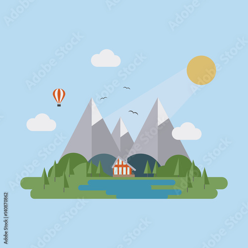 Poster Turquoise Flat summer landscape with mountain, lake, sun, trees, clouds and house.