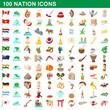 100 nation icons set, cartoon style