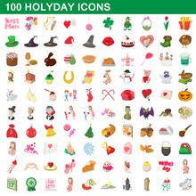 100 Holyday Icons Set, Cartoon...