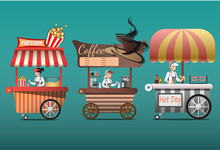 Street Coffee Cart, Popcorn And Hotdog Shop With Sellers.
