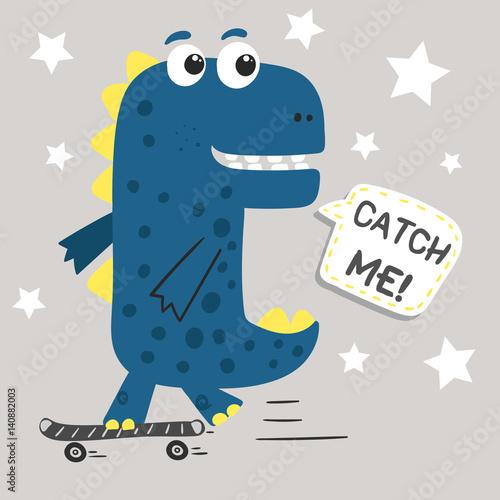 zabawny-niebieski-dinozaur-na-deskorolce