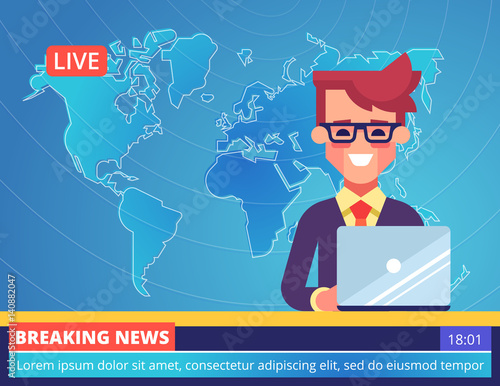 Handsome Young Tv Newscaster Man Reporting Breaking News Sitting In A Studio With World Map On