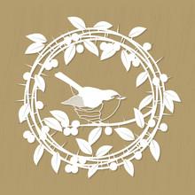 Blackthorn Berries Branches, Leaves And Robin Bird Frame For Laser Or Plotter Cutting. Vector Illustrations Vintage Design