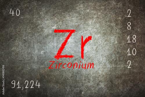 Fotografia, Obraz  Isolated blackboard with periodic table, Zirconium