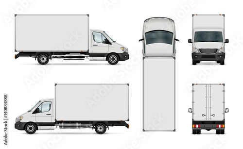 white van vector template isolated delivery truck all elements in the groups have names the. Black Bedroom Furniture Sets. Home Design Ideas