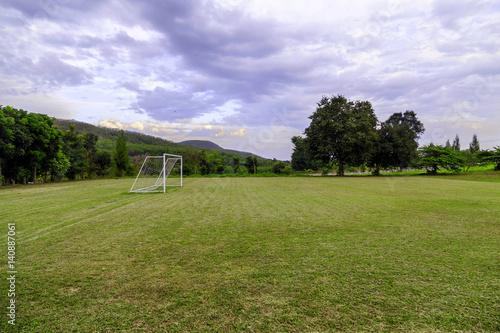 Printed kitchen splashbacks Purple Soccer field in the countryside.