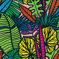 Fototapeta Popularne Colorful tropical pattern with exotic plants. Seamless vector tropical pattern with leaves.