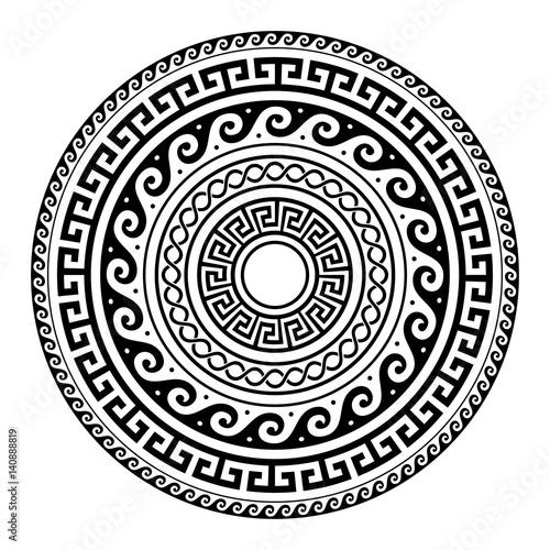 Ancient Greek round key pattern - meander art, mandala black shape Fototapete