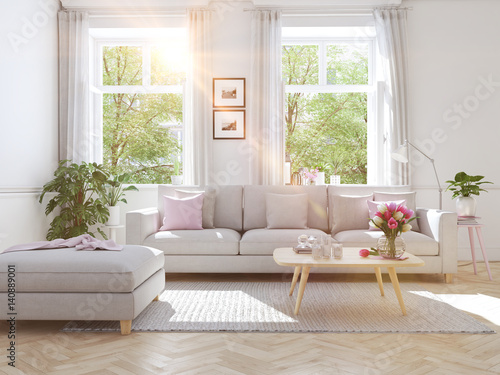 modern living room in townhouse. 3d rendering - Buy this stock ... on townhouse condo, townhouse floor plans, townhouse with garage, townhouse stoop, townhouse construction, townhouse elevations, townhouse rentals, townhouse living, townhouse from inside,