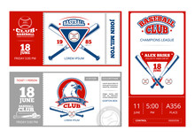 Baseball Sports Ticket Vector Design With Vintage Baseball Team Emblems