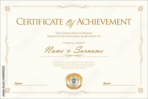 Photo  Certificate of achievement or diploma template
