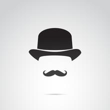 Retro Gentleman Vector Icon.