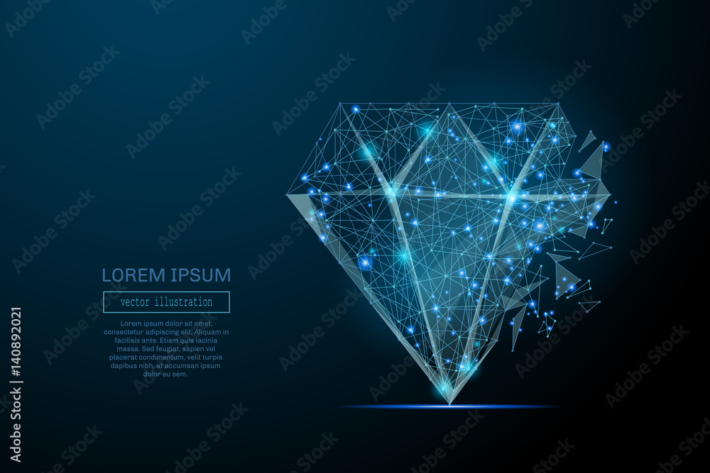 Fototapeta Abstract image of a diamond in the form of a starry sky or space, consisting of points, lines, and shapes in the form of planets, stars and the universe. Vector business wireframe concept.