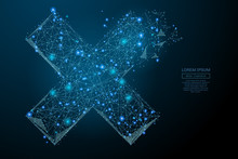 Abstract Image Of A Cross X In The Form Of A Starry Sky Or Space, Consisting Of Points, Lines, And Shapes In The Form Of Planets, Stars And The Universe. Vector Business Wireframe Concept.