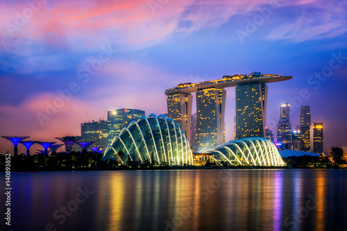 Printed kitchen splashbacks Eggplant Cityscape of Singapore city