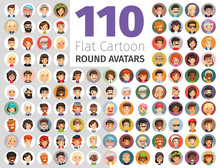 Flat Cartoon Round Avatars Big...