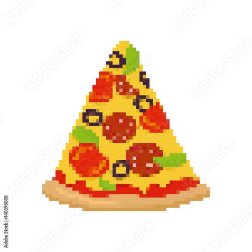 Pizza Pixel Art. Kawałek pizzy jest pikselowany. Fast food na białym tle