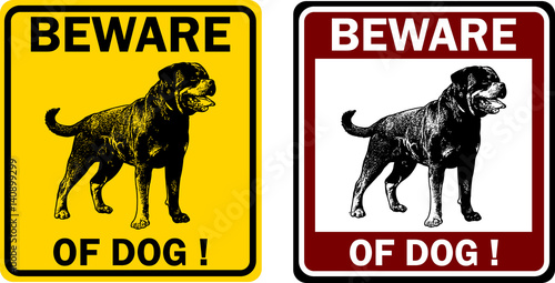 beware of dog sign - vector Canvas Print