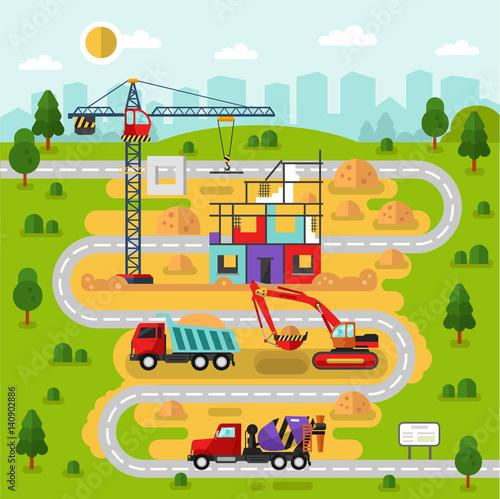 Flat design vector landscape illustration city map with construction