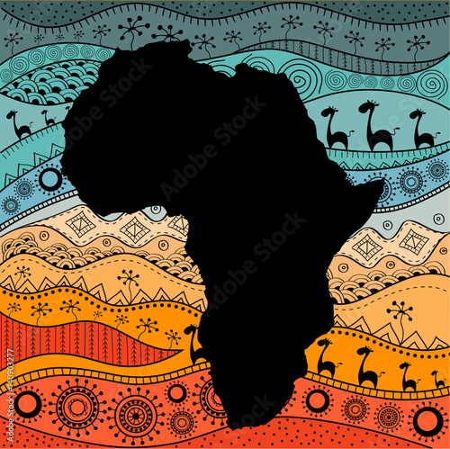 Fotografie, Obraz Textured vector map of Africa