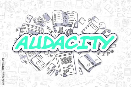 Audacity - Doodle Green Text. Business Concept. Canvas Print