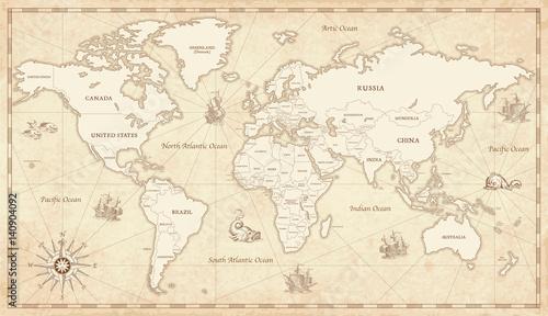 Cadres-photo bureau Carte du monde Vintage Illustrated World Map
