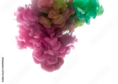 Garden Poster Smoke Colors dropped into liquid and photographed while in motion. Ink shape or swirling in water for design or decorate background or abstract banner on white isolate background.