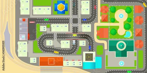 Zdjęcie XXL Mapa miasta poziomy baner, stylu cartoon
