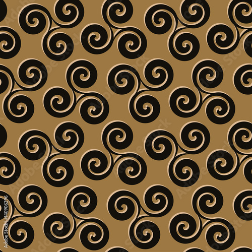Valokuva  Seamless pattern with inlaid spirals in black and gold