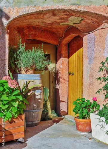 Fototapeten Schmale Gasse Patio with flowers in the old town Coaraze in France