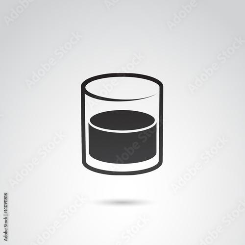 Fototapeta  Whiskey glass vector icon.