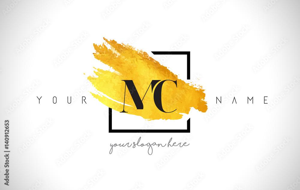 Fototapeta MC Golden Letter Logo Design with Creative Gold Brush Stroke