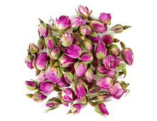 Dry Tea Rose Buds Isolated On White