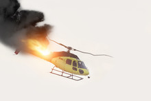 Air Crash. Burning Falling Helicopter