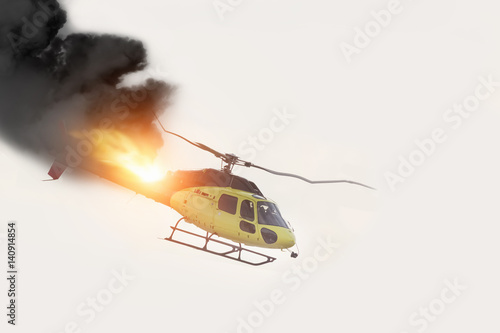 Tuinposter Helicopter Air Crash. Burning falling helicopter