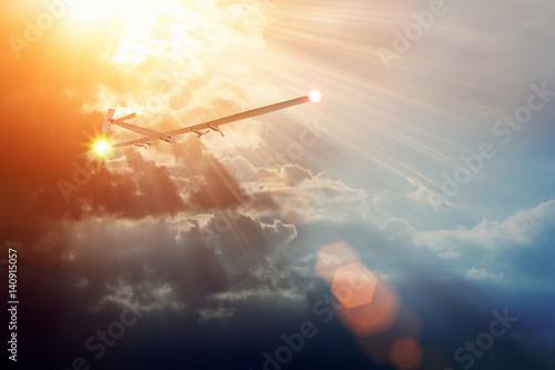 Experimental aircraft on sun energy  Solar Impulse in cloudy sky