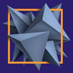 Obraz na SzkleVolume geometric shapes, blue 3d crystals on purple background. Abstract low polygons object composition. Bright orange square frame. Vector design form