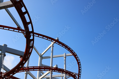Poster Amusementspark roller coaster with blue sky