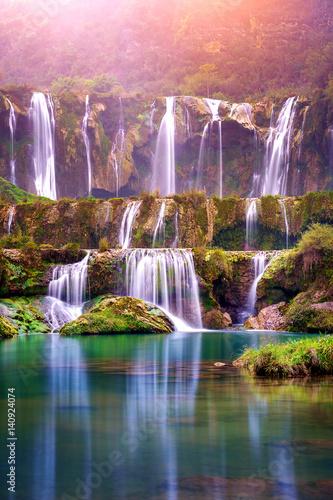 Poster Watervallen Jiulong waterfall in Luoping, China.