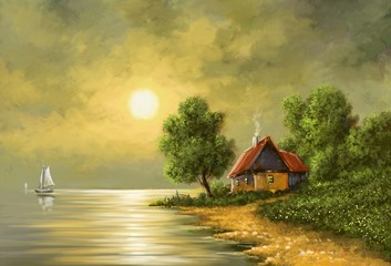 Obraz Moon, sea landscape, paintings, digital art, oil.