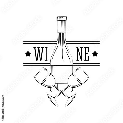 Obraz na plátně wine bottle and wine glasses over white background
