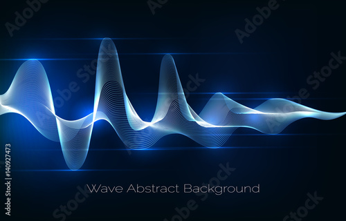 Foto op Aluminium Abstract wave Sound wave abstract background. Audio waveform vector illustration