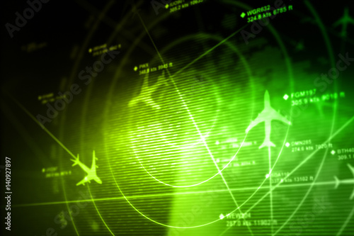 Fotomural  Abstract radar with targets