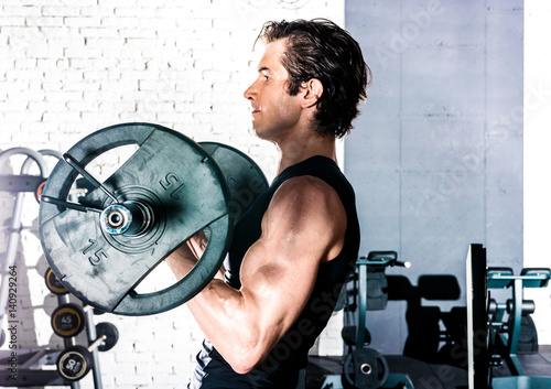 Man exercising in gym Canvas Print
