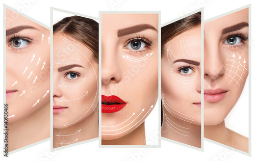 Fotografiet  The young female face. Antiaging and thread lifting concept
