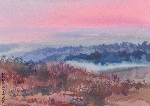 akwarela-krajobraz-kolorowe-wzgorza