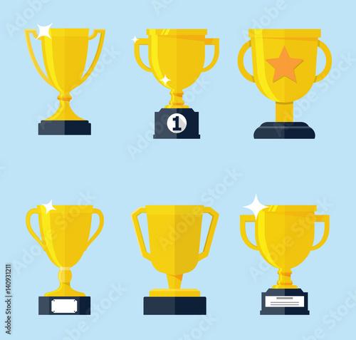 Cuadros en Lienzo Vector flat golden trophy set.