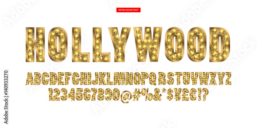 Fotografiet  Hollywood. Color Golden alphabet with show lamps.